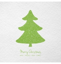 Christmas card with hand drawn christmas tree vector