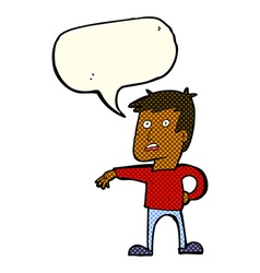 Cartoon man making camp gesture with speech bubble vector