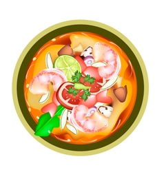 Tom yum goong or thai spicy sour soup with shrimps vector