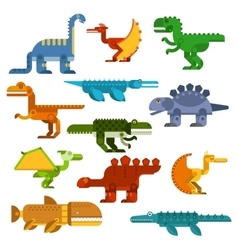 Cartoon flat dinosaurs and aquatic reptiles vector
