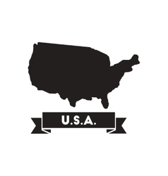 Flat icon in black and white united states map vector