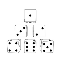 Six white cartoon-style dice cubes vector
