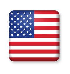 American united states flag in glossy square vector
