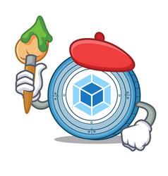 Artist webpack coin character cartoon vector