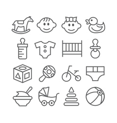 Baby line icons vector image