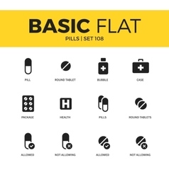 Basic set of pills icons vector