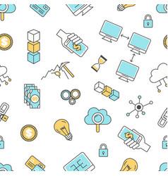 Blockchain technology seamless pattern vector