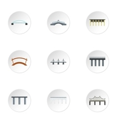 Bridge transition icons set flat style vector