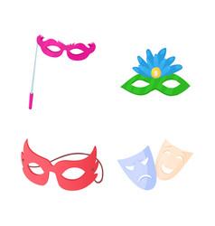 Carnaval mask icon set cartoon style vector