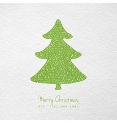 Christmas card with hand drawn christmas tree vector image vector image