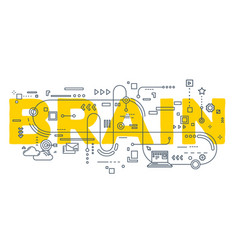 Creative of brain word lettering vector
