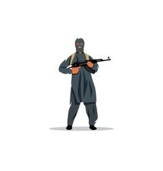 East islamic commandos with a gun sign vector