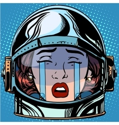 Emoticon cry emoji face woman astronaut retro vector