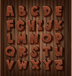 Font design for english alphabets with brown color vector