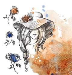 girl in a hat on a watercolor background vector image