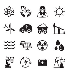 green energy technology icons vector image