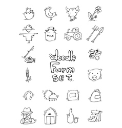 Hand drawn Farm icon set vector image vector image