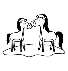 Horses couple over grass in black sections vector