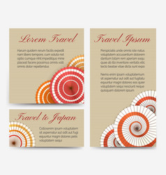 Invitation cards with japanese umbrella set vector