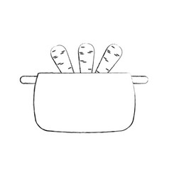 Kitchen pot with carrots isolated icon vector