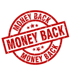 Money back round red grunge stamp vector