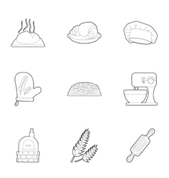 Patisserie icons set outline style vector