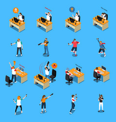 People in cyber sport isometric set vector