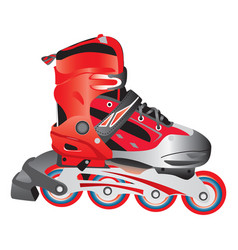 Red hot plastic and fabric sport rollerblade vector