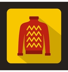 Red warm sweater icon in flat style vector
