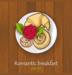 Romantic breakfast top view vector