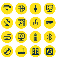Set of 16 computer hardware icons includes router vector