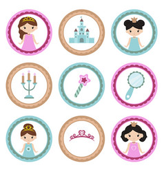 Set of tags with princess theme set of tags with vector