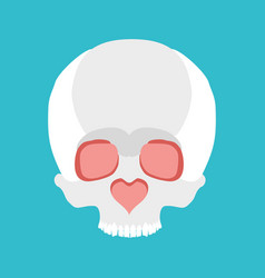 Skull love nose heart valentines day vector