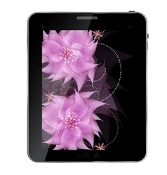 Tablet with flowers icon vector image vector image