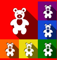 Teddy bear sign set of icons vector