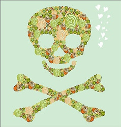 The skull of the flowers vector image