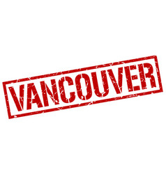 Vancouver red square stamp vector