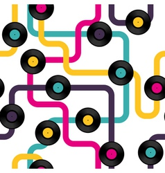 Vinyl record seamless background pattern vector image vector image