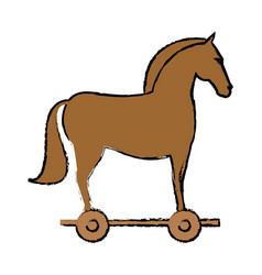 Wooden rocking horse toy animal vector