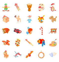 wooden toy icons set cartoon style vector image vector image