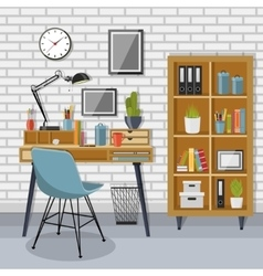 Workplace and shelving unit with gray brick wall vector