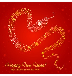 New Year card of Snake made of snowflakes vector image