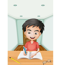 A boy writing a letter vector