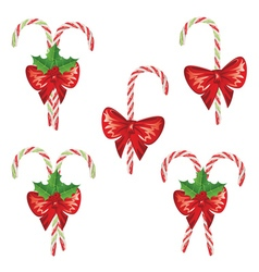 Candy canes with bow set3 vector