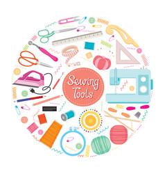 sewing kits icons set on circle frame vector image