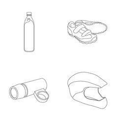 A bottle of water sneakers a flashlight for a vector