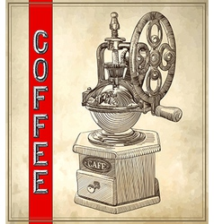 Sketch drawing of coffee grinder on grunge vector