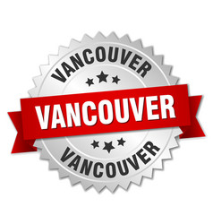 Vancouver round silver badge with red ribbon vector