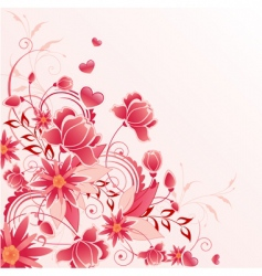 Red floral background with ornament vector