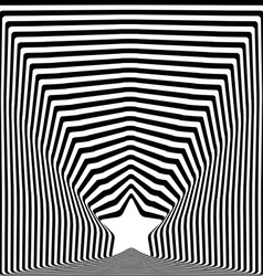 Star black stripes optical visual art effect vector